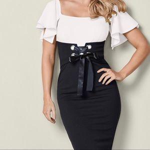 Venus 18 Plus Black/White Stretchy dress